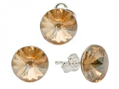 Set argint 925 cu swarovski elements 8 mm Golden Shadow