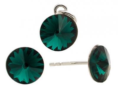 Set argint 925 cu swarovski elements Emerald