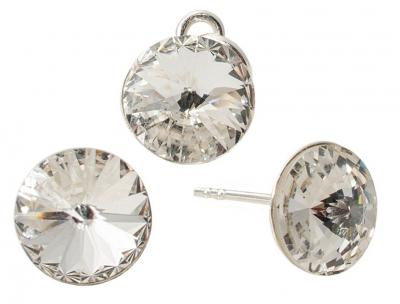 Set argint 925 cu swarovski elements 8 mm Crystal Clear
