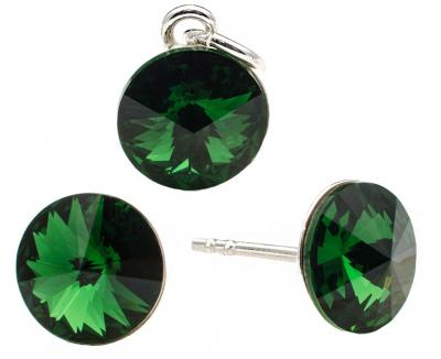 Set argint 925 cu swarovski elements 8 mm Green Moss