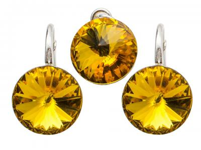 Set argint 925 cu swarovski elements 10 mm Sunflower