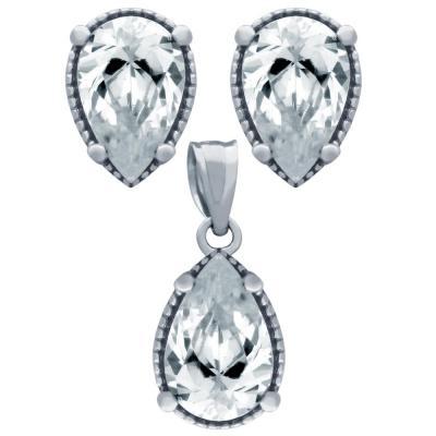 Set argint 925 elegant picaturi cu zirconii albe - Be Nature