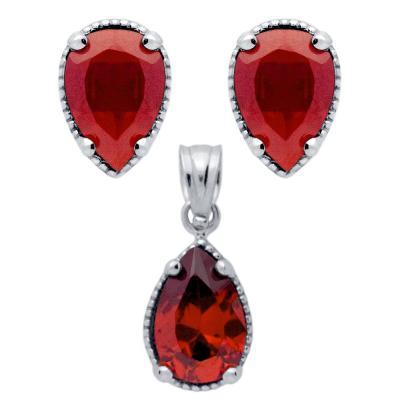 Set argint 925 elegant picaturi cu zirconii rosii - Be Nature