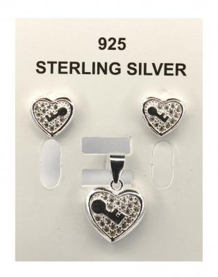 Set argint 925 rodiat cu inimioare si zirconii0