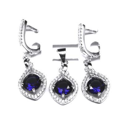 Set argint 925 rodiat cu zirconii albe si albastre1