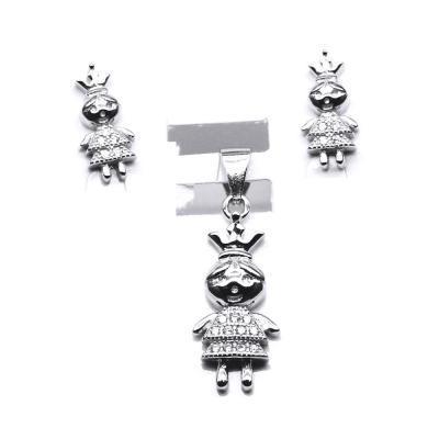 Set argint 925 rodiat fetite printese cu zirconii albe