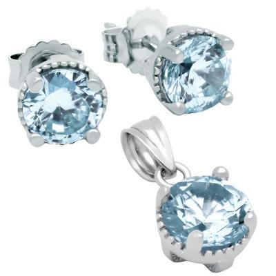 Set elegant din argint 925 cu zirconii bleu1