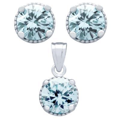 Set elegant din argint 925 cu zirconii bleu