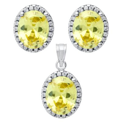 Set elegant din argint 925 cu zirconii galbene