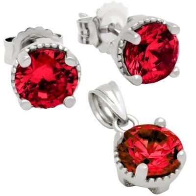 Set elegant din argint 925 cu zirconii rosii1