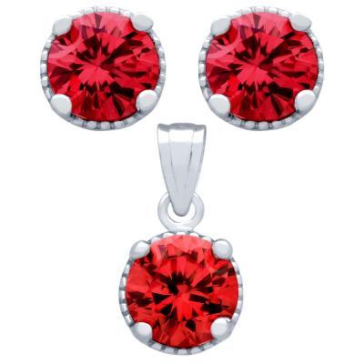 Set elegant din argint 925 cu zirconii rosii