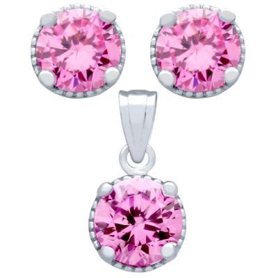 Set elegant din argint 925 cu zirconii roz