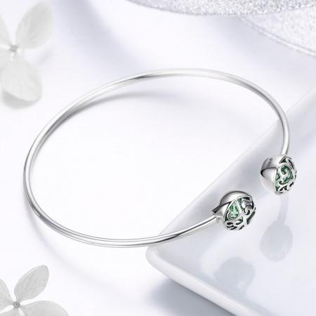 Bratara argint 925 cu copacul vietii si cristale verzi - Be Nature  BST00303