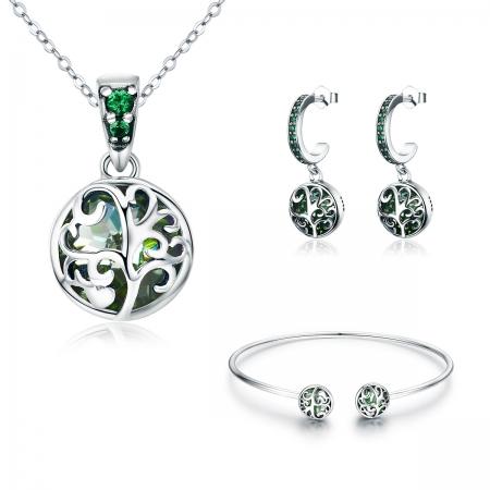 Bratara argint 925 cu copacul vietii si cristale verzi - Be Nature  BST00306