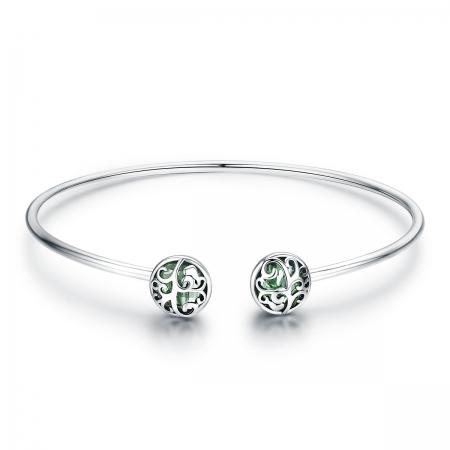Bratara argint 925 cu copacul vietii si cristale verzi - Be Nature  BST0030