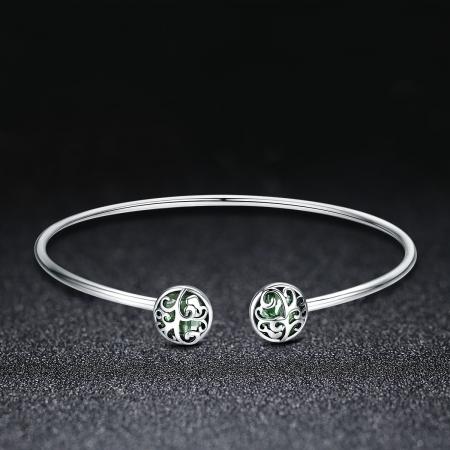 Bratara argint 925 cu copacul vietii si cristale verzi - Be Nature  BST00301