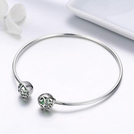 Bratara argint 925 cu copacul vietii si cristale verzi - Be Nature  BST00302