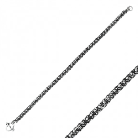 Bratara argint 925 cu floricele si aspect vintage 18,5 cm - Be Nature BTU0070