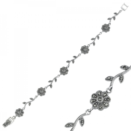 Bratara argint 925 cu floricele si marcasite si aspect vintage - Be Nature BTU00721