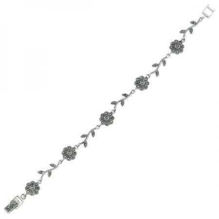 Bratara argint 925 cu floricele si marcasite si aspect vintage - Be Nature BTU0072