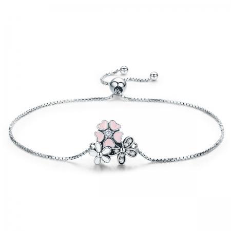 Bratara argint 925 cu floricele si zirconii albe - Be Nature  BST0029