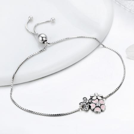 Bratara argint 925 cu floricele si zirconii albe - Be Nature  BST00291