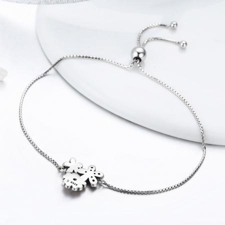 Bratara argint 925 cu floricele si zirconii albe - Be Nature  BST00294