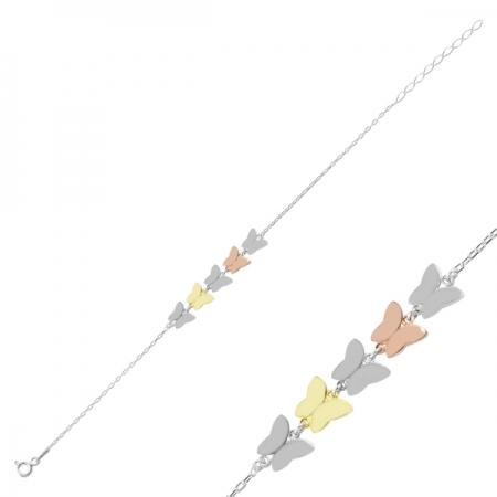 Bratara argint 925 cu fluturasi in trei culori - Be Nature BTU0101