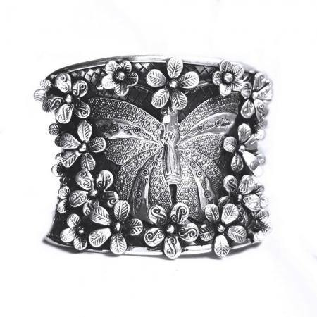 Bratara argint 925 cu fluture si floricele, Eden