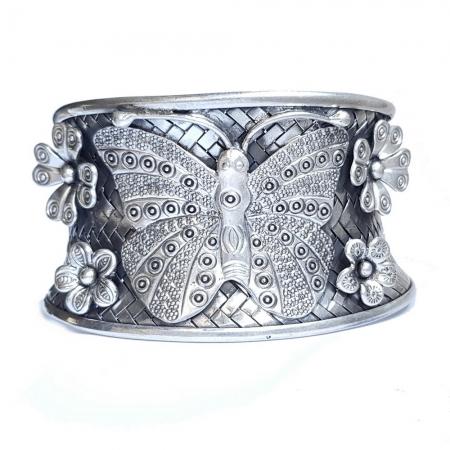 Bratara argint 925 cu fluture si floricele, Eden1