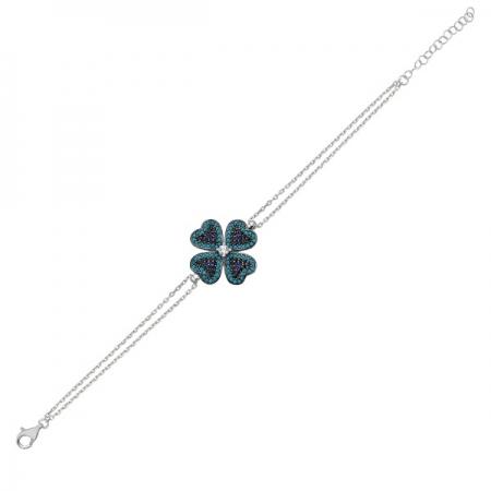 Bratara argint 925 cu frunza de trifoi si zirconii multicolore - Be Lucky  BTU0097