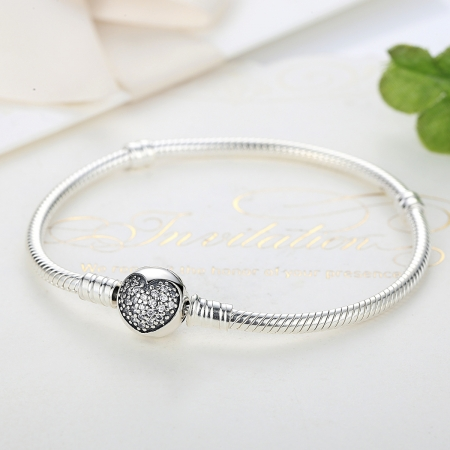 Bratara argint 925 cu inimioara si zirconii albe - Be Elegant BST00181