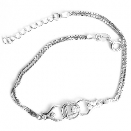 Bratara argint 925 rodiat cu inimioara si zirconii BRA0795