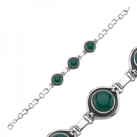 Bratara argint 925 cu pietre de agate verzi - Be Elegant BTU0075