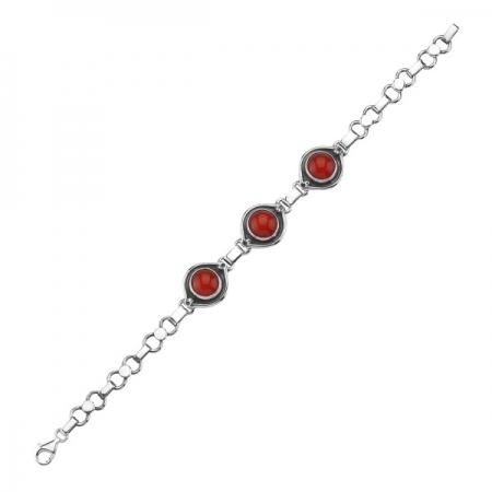 Bratara argint 925 cu pietre de coral rosu - Be Elegant BTU0074