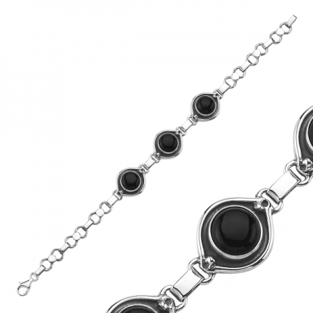 Bratara argint 925 cu pietre de onix negru - Be Elegant BTU0073 [1]