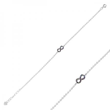 Bratara argint 925 cu simbolul infinit si zirconii multicolore - Infinite You BTU0102