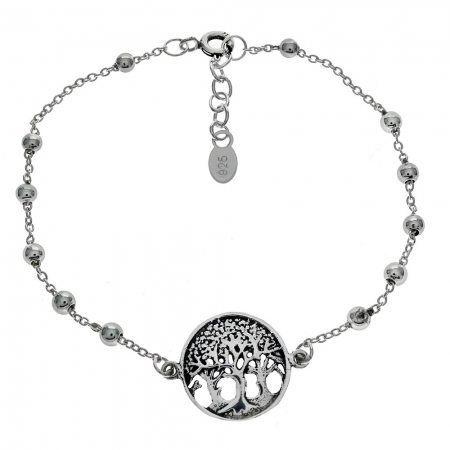 Bratara argint 925 cu copacul vietii si aspect vintage BSX0265