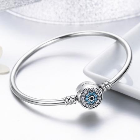 Bratara argint 925 floare albastra cu zirconii - Be Nature BST00241