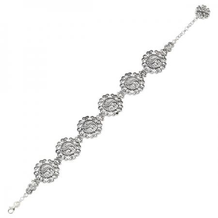 Bratara argint 925 lucrata in filigran cu Yin Yang si floricele - Be Spiritual BTU0069