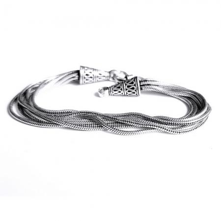 Bratara argint 925 manunchi de lantisoare cu conuri  , Leila4