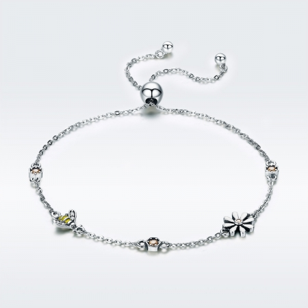 Bratara argint 925 reglabila cu floare alba, albinuta si zirconii colorate - Be Nature BST00352
