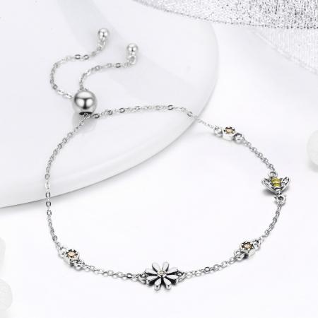 Bratara argint 925 reglabila cu floare alba, albinuta si zirconii colorate - Be Nature BST00351