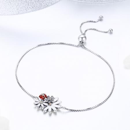 Bratara argint 925 reglabila cu gargarita, floricele si zirconii - Be Lucky BST00391