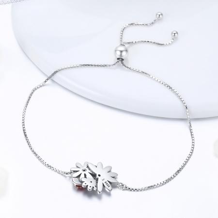 Bratara argint 925 reglabila cu gargarita, floricele si zirconii - Be Lucky BST00392