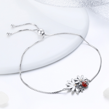 Bratara argint 925 reglabila cu gargarita, floricele si zirconii - Be Lucky BST00393