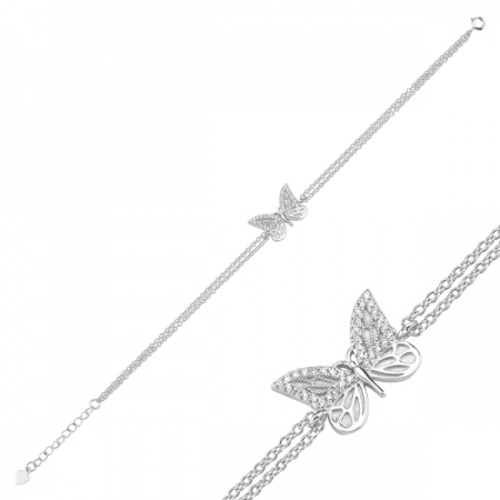 Bratara argint 925 rodiat cu fluturas si zirconii albe - Be Nature BTU00851