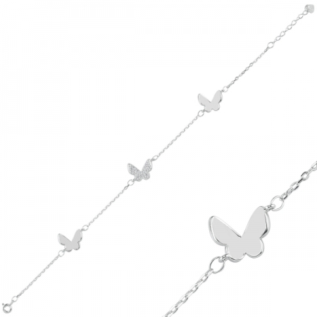 Bratara argint 925 rodiat cu fluturas si zirconii albe - Be Nature BTU0088
