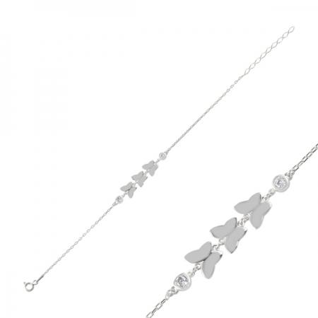 Bratara argint 925 rodiat cu fluturas si zirconii albe - Be Nature BTU00891