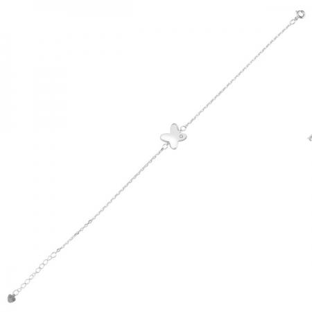 Bratara argint 925 rodiat cu fluturas si zirconii albe - Be Nature BTU0090